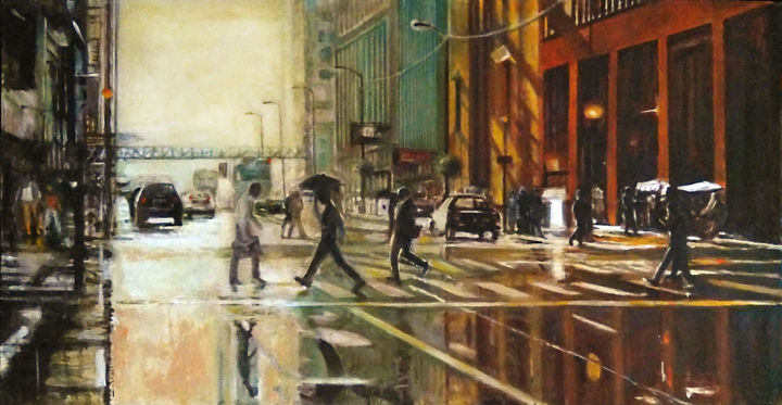 """Painting titled """"Chicago 3"""" by Piotr Piecko, Original Art, Acrylic Mounted on Wood Panel"""