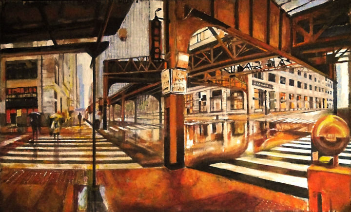 """Painting titled """"Chicago 4"""" by Piotr Piecko, Original Art, Oil"""