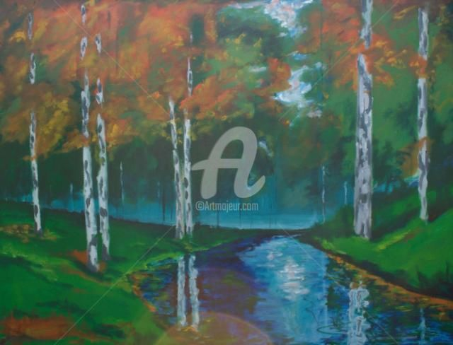 """Painting titled """"birch forest"""" by Piotr, Original Art,"""