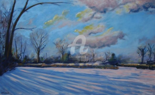"""Painting titled """"Winter Lake"""" by Piotr, Original Art, Oil"""