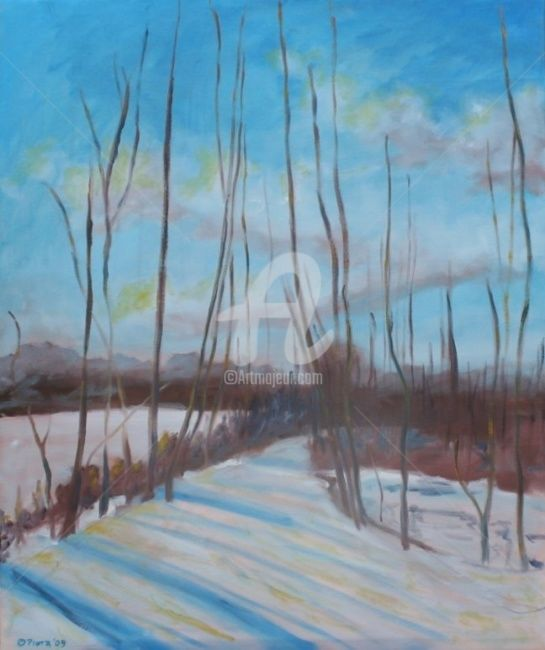 """Painting titled """"The Winter Road"""" by Piotr, Original Art,"""