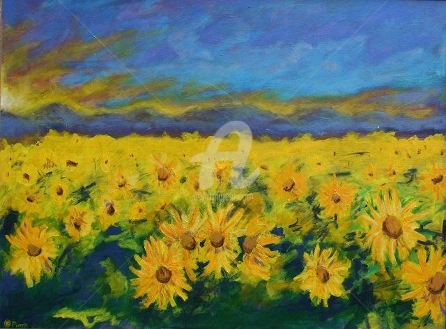 """Painting titled """"Field of Sunflowers"""" by Piotr, Original Art, Oil"""