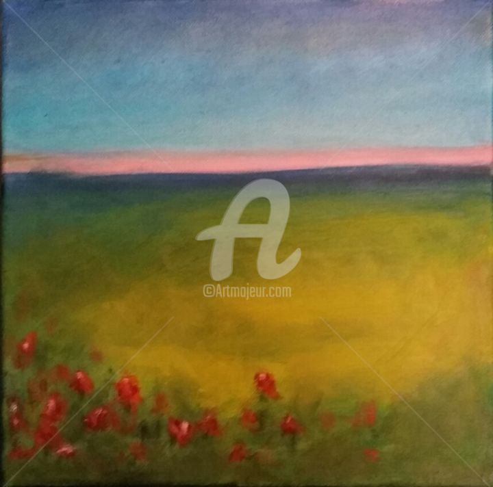 """Painting titled """"sunset-with-red-flo…"""" by Piotr, Original Art, Oil"""