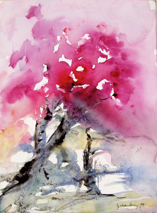 Annonce du printemps - Painting,  10.6x7.9 in, ©2009 by Jocelyne Chauveau -                                                                                                          abstract, watercolour and China ink formal research  concept of tree recherche formelle aquarelle encre de Chine arbre