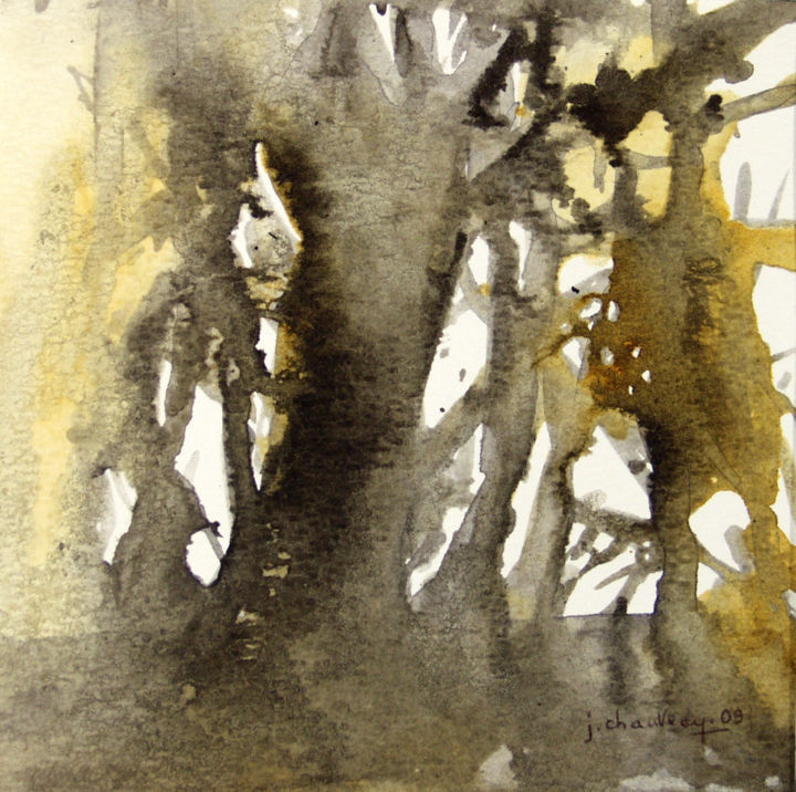 Secrets d'arbres n° 23 - Painting,  15x15 cm ©2009 by Jocelyne Chauveau -                            Contemporary painting, abstract, watercolour and China ink formal research  concept of tree recherché formelle aquarelle encre de Chine arbre