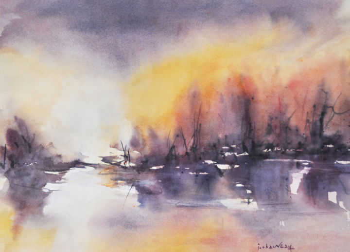 Embrasement 2 - Painting,  10.2x14.2 in, ©2012 by Jocelyne Chauveau -                                                                                                              Landscape, paysage soleil couchant aquarelle landscape sunset watercolour
