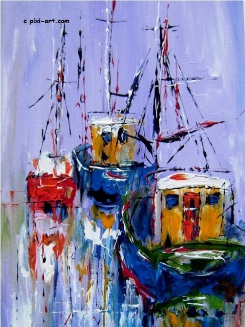 """Painting titled """"Boats by the quay"""" by Pixi, Original Art,"""