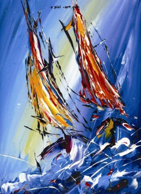 """Painting titled """"Sails on high seas"""" by Pixi, Original Art,"""