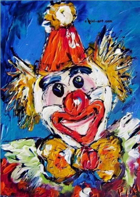 """Painting titled """"Happy Clown"""" by Pixi, Original Art,"""