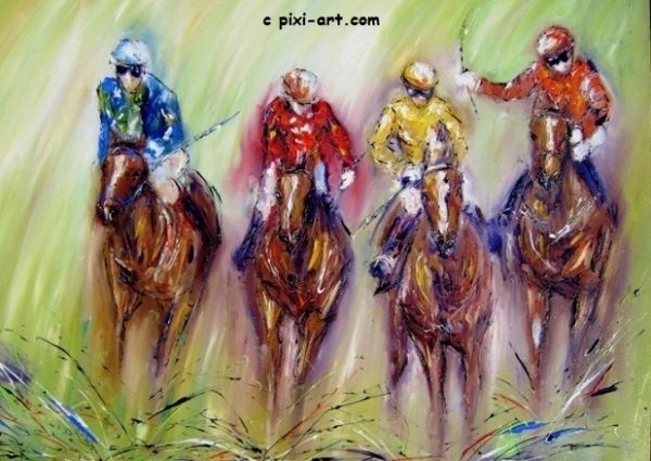 """Painting titled """"Race to the line"""" by Pixi, Original Art,"""
