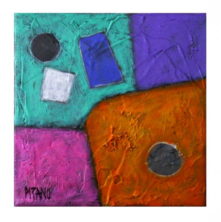 Lune de miel 6 -  Expressionnisme abstrait - Painting,  5.9x5.9 in, ©2013 by Jacqueline PIZANO -                                                                                                                          Expressionism, expressionism-591