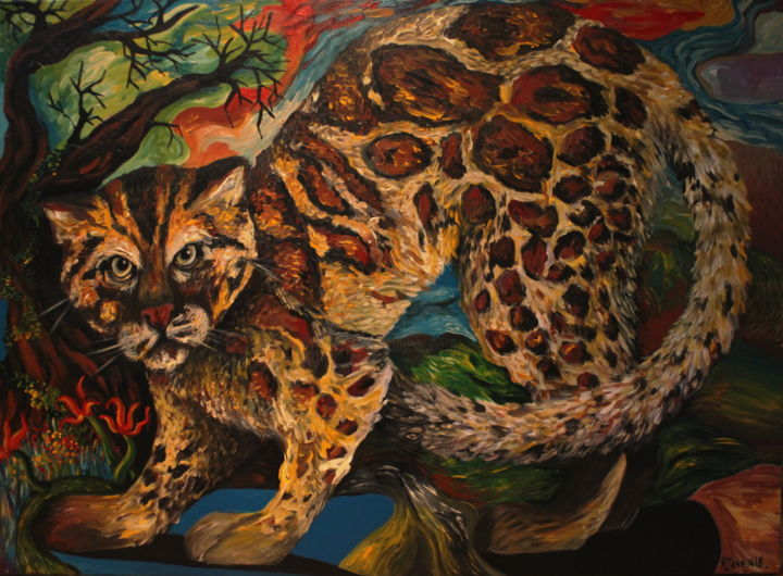 Marbre - Painting,  28.7x39.4 in, ©2018 by Patrick Jannin -                                                                                                                                                                                                                                                                      Figurative, figurative-594, Animals, chat marbré, animaux
