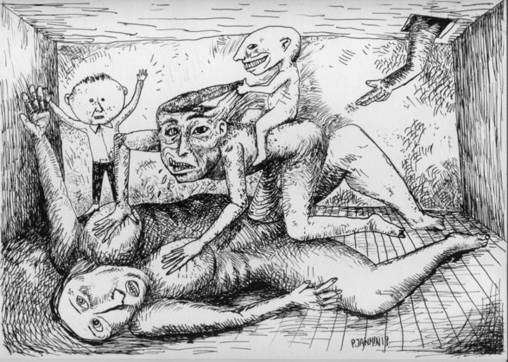 Familiarités - Drawing,  8.3x11.7 in, ©2019 by Patrick Jannin -                                                                                                                                                                                                                                                                                                                                                                                                          Outsider Art, outsider-art-1044, Love / Romance, Family, intérieur, famille, dessin, amour