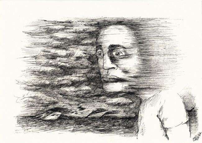 Coup de vent - Drawing,  8.3x11.4 in, ©2010 by Patrick Jannin -                                                              Black and White