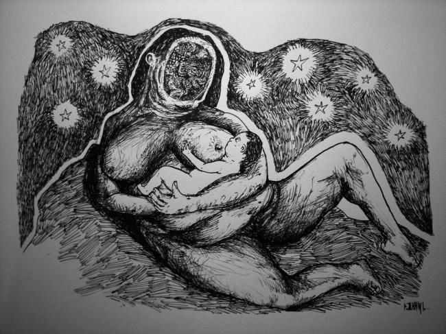 Nativité - Drawing,  9.5x12.6 in, ©2010 by Patrick Jannin -                                                              Black and White