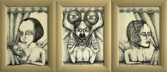 Le Jugement Dernier - Drawing,  13.4x30.7 in, ©2011 by Patrick Jannin -                                                              Black and White