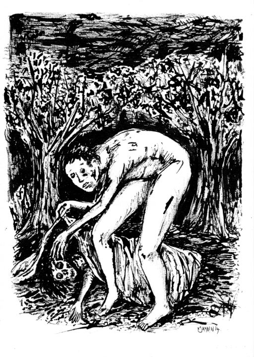 Camping sauvage - Drawing,  11.4x8.3 in, ©2014 by Patrick Jannin -                                                              Black and White