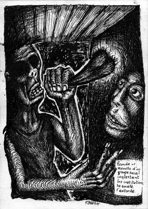 Les Hommes Préfèrent La Fronde - Drawing,  11.4x8.3 in, ©2014 by Patrick Jannin -                                                              Black and White