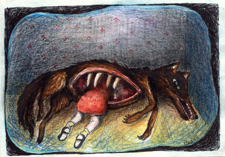 Le Petit Chaperon Rouge - Drawing,  5.5x8.3 in, ©2014 by Patrick Jannin -