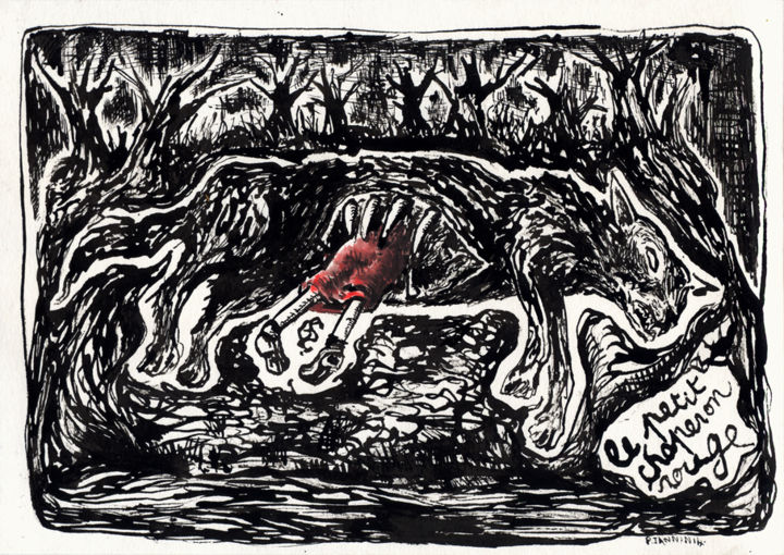 Le Petit Chaperon Rouge - Drawing,  8.3x11.4 in, ©2014 by Patrick Jannin -
