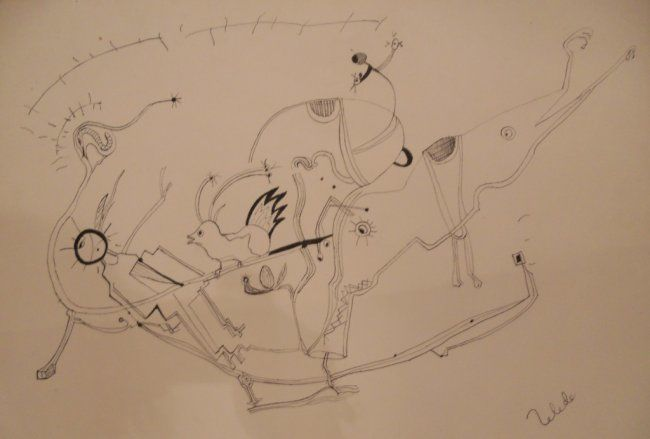 Animales - Painting,  39x57 cm ©0000 by Toledo -            Drawing ink on paper