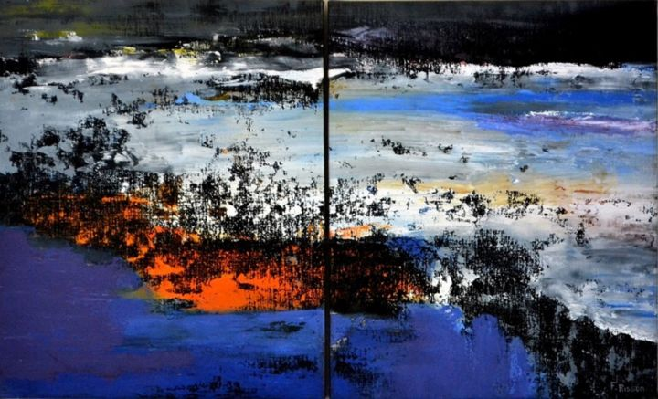 mental 10 - 61x101 - diptyque - Painting,  61x101 cm ©2013 by Fabrice Plisson -                                                            Abstract Expressionism, Canvas, Abstract Art, paysage, abstrait