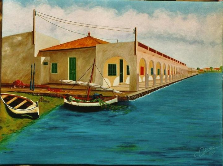 CHALETS  REFUGIO  DE  PESCADORES - Painting,  50x65 cm ©2006 by PEPE -