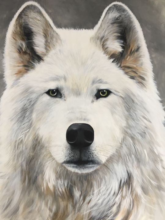 Loup blanc - Painting,  39.4x39.4x1.6 in, ©2018 by stéphanie Ellner -                                                                                                                                                                          Figurative, figurative-594, Animals