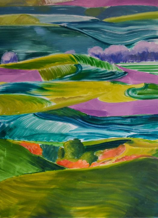 """""""The Colours of a Distant Land"""" - Painting,  40.2x29.9x0.7 in ©2019 by Seha Nur Karatas -                                            Impressionism, Landscape, purple, sky, hills, green"""