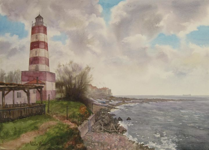 """Painting titled """"""""The Lighthouse Sha…"""" by Vasiliy Pohomov, Original Art, Watercolor"""