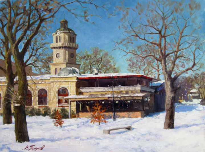 """Painting titled """"""""Winter in the City"""""""" by Vasiliy Pohomov, Original Art, Oil"""