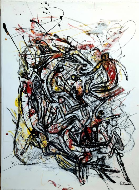 """Painting titled """"Humanité 2"""" by Lise Poitras, Original Art, Acrylic"""