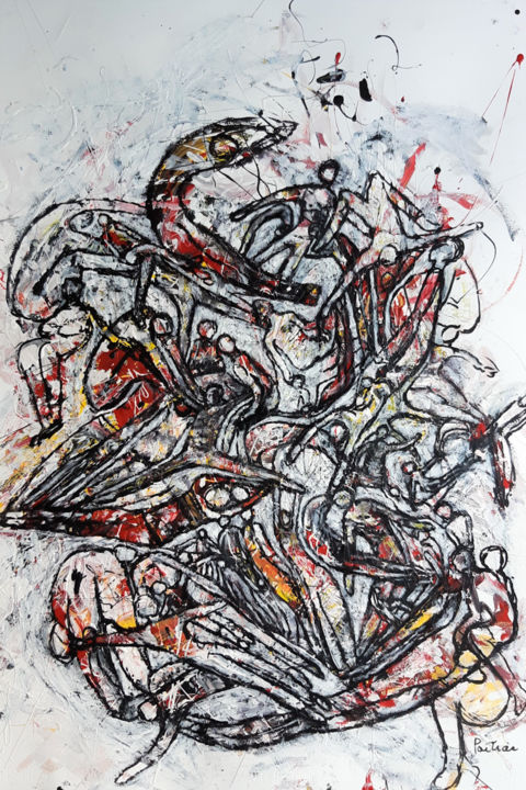 """Painting titled """"Humanité 5"""" by Lise Poitras, Original Art, Acrylic"""