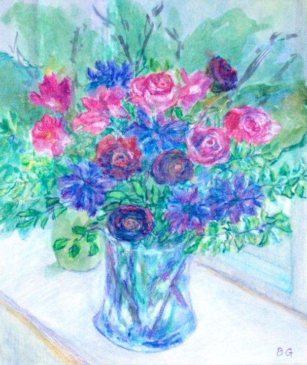 Flowers Blue And Pink Bernice Grundy