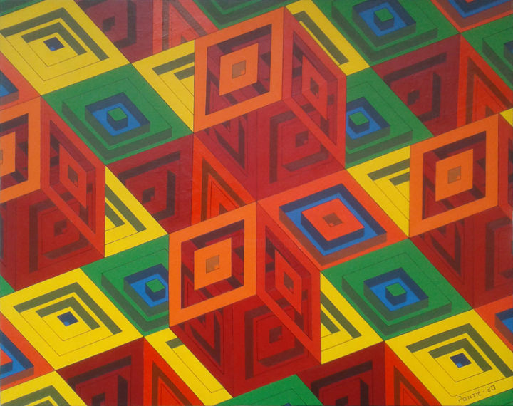 """Painting titled """"Equilibre G"""" by Pontié Stéphane, Original Art, Acrylic Mounted on Wood Panel"""