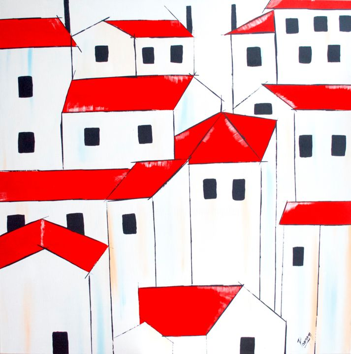 Acrylic Painting Red Roofs Painting By Poonam Choudhary