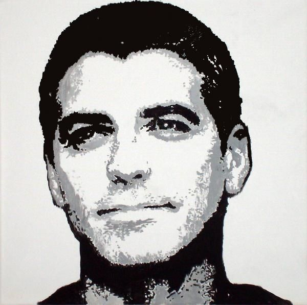 George Clooney - What Else! - Painting,  19.7x19.7 in, ©2007 by Günther Roth -