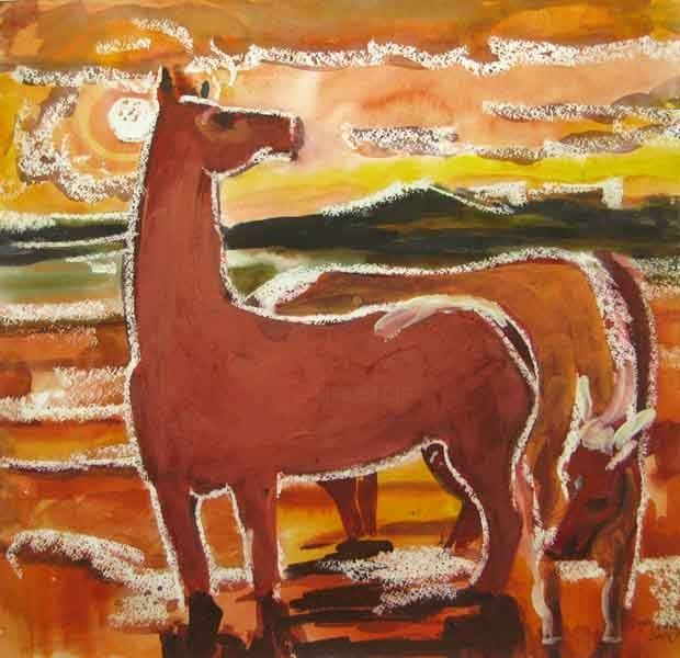 The red horses - Painting,  16.5x17.3 in, ©2006 by Aleksey Poyaganov -