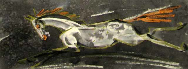 Mare - Painting,  9.1x24.4 in, ©2006 by Aleksey Poyaganov -