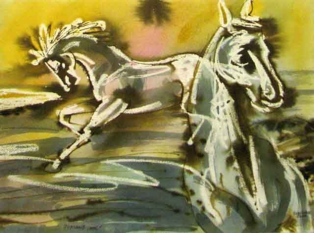 Pink horse - Painting,  11.4x15.8 in, ©2006 by Aleksey Poyaganov -