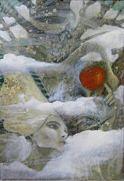 cueilleuse de pomme - Painting,  25.6x17.7 in, ©1999 by Pierre Paul PARMENTIER -                                                                                                                                                                          Surrealism, surrealism-627, cueilleuse de pomme