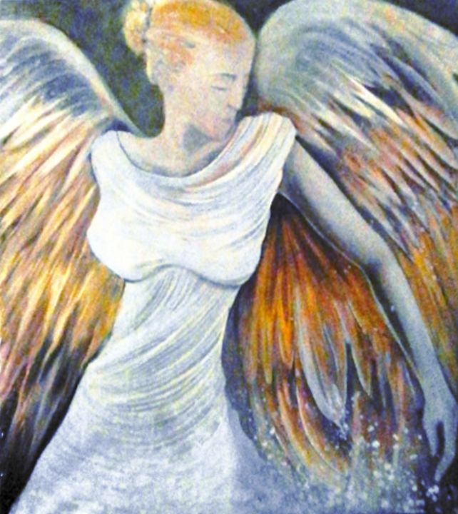 ange - Painting,  28x25.4 in, ©2012 by Pierre Paul PARMENTIER -                                                                                                                                                                                                                          Figurative, figurative-594, Classical mythology, ange huile sur toile