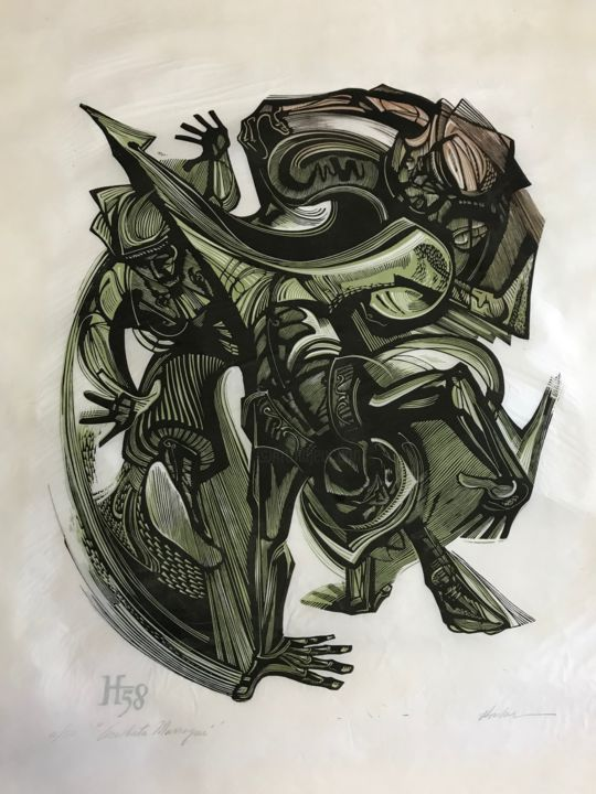 acrobata-complete-2.jpg - Printmaking,  20.5x16.5 in ©1958 by PR ART COLLECTION -                                            Abstract Expressionism, Paper, lorenzohomar, homar