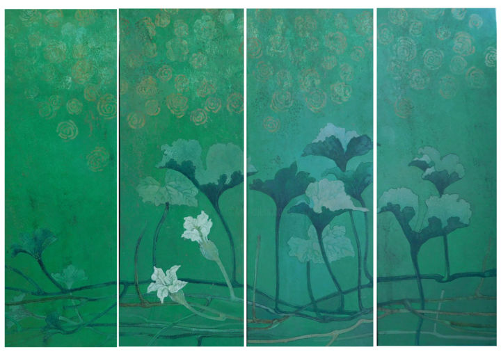 """Painting titled """"NATURE 2018 Green v…"""" by Prangopal Ghosh, Original Art, Acrylic Mounted on Cardboard"""