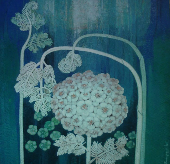 """Painting titled """"NATURE 2017 Floral"""" by Prangopal Ghosh, Original Art, Acrylic Mounted on Cardboard"""