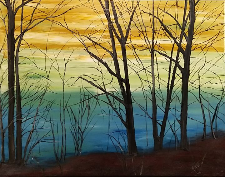 """Painting titled """"The spring view on…"""" by Gregor Pratneker, Original Art, Oil"""