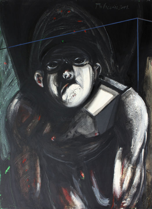 Pet - Painting,  43.3x31.5x1.2 in, ©2001 by Pribi -                                                                                                                                                                                                                                                                                                                                                                                                                                                                                                                                                                                                                                                                                                                                                                                                                                                                                                                                                                                                                                                                                                                                              Expressionism, expressionism-591, Canvas, Wood, Body, Men, Pet, body, figure, man, animal, beast, black, dark, symbol, agression, slave, anger, fury, art, Pribi, Pribicevic, painting, oil