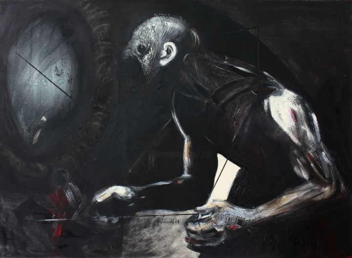 Gadabout and Leash - Painting,  31.5x43.3x1.2 in, ©2001 by Pribi -                                                                                                                                                                                                                                                                                                                                                                                                                                                                                                                                                                                                                                                                                                                                                                                                                                                                                                                                                                                                                                                                                                                                                                                                                                                                                                                                                                          Expressionism, expressionism-591, Canvas, Wood, Body, Dark-Fantasy, Men, Mortality, Spirituality, gadabout, man, devil, mentor, control, body, toy, gamer, game, life, living, manipulation, dark, web, Art, Pribi, Pribicevic, painting, oil, black