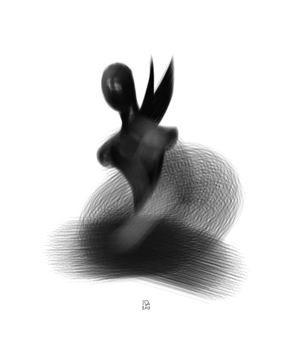 Between Good and Evil - Digital Arts, ©2013 by Pribi -                                                                                                                                                                                                                                                                                                                                                                                                                                                                                                                                                                                                                                                                                  Figurative, figurative-594, Body, Spirituality, Good, Evil, figure, drawing, digital, black, Pribi, Pribicevic, art, angel
