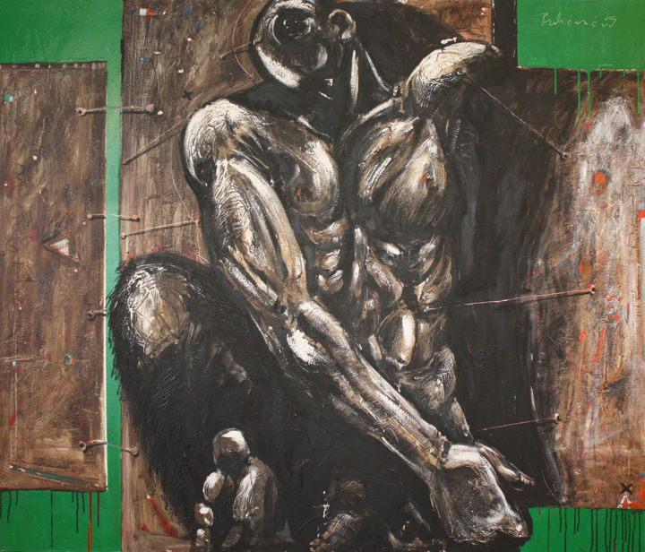 Golem - Painting,  47.2x55.1x0.8 in, ©1999 by Pribi -                                                                                                                                                                                                                                                                                                                                                                                                                                                                                                                                                                                                                                                                                                                                                                                                                                                                                                                                                                                                          Expressionism, expressionism-591, Canvas, Wood, Body, Classical mythology, Dark-Fantasy, Mortality, Golem, figure, man, symbol, power, doom, Art, Pribi, Pribicevic, brawn, model, painting, oil